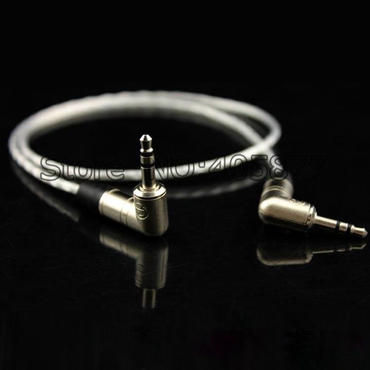 Высококачественный посеребренный аудио кабель для наушников стерео кабель Прямоугольный штекер для правого угла стерео аудио кабель 20 см