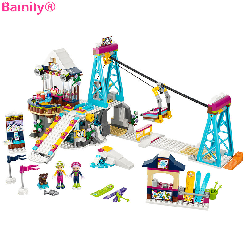 [Bainily] 632pcs Resort Ski Resort Cable Car Friends For Girls Model DIY Building Block Toy Compatible With LegoINGly Friends mediterranean resort 4 паралия катерини пиерия