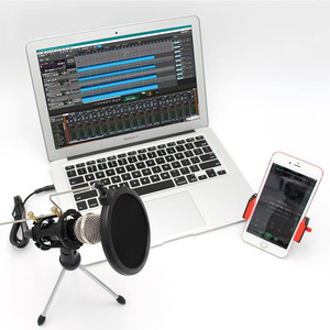 Image 3 - מקצועי נייד שולחן העבודה הקבל מיקרופון Stand מחזיק חצובה סט עבור iPhone Macbook מחשב PC מיקרופונים