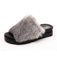 Home Rabbit Fur Slippers Women Platform Soft Furry Flat Sandals Fashion Casual Flip Flop Shoes Zapatillas