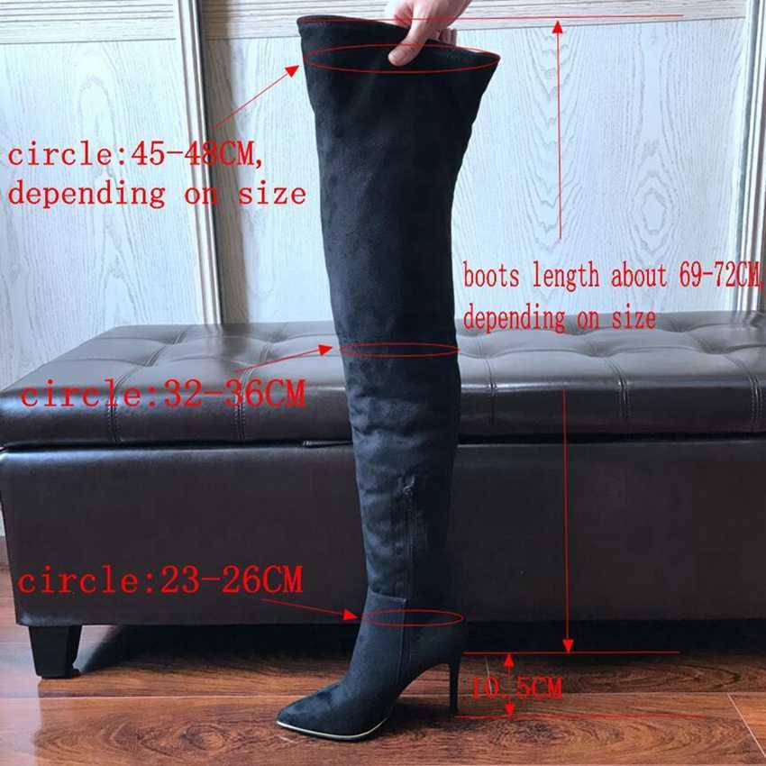 """10.5 ס""""מ עקבים גבוהים מעל הברך מגפי אישה למתוח ארוך גרב אתחול נשים אופנוע מגפי נשים זמש עור נעל חורף נעליים"""