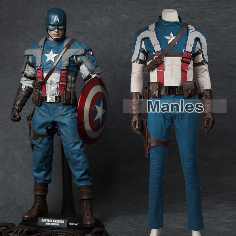 Captain America The First Avenger Steve Rogers Cosplay Costume Superhero Suit Adult Men Classic Halloween Cosplay Costume Men