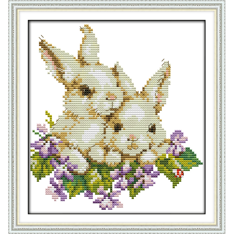 Everlasting love Two rabbits Chinese cross stitch kits Ecological cotton stamped printed 11CT DIY new year decorations for home
