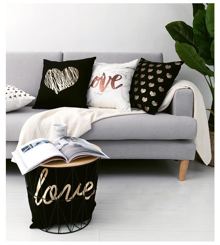 HTB1tC8hP4naK1RjSZFtq6zC2VXaS Black Golden Leaves Cushion Brozing Gold Foil Cushion Decorative Pillows Home Decor Throw Pillow Almofadas Decorativas Para Sofa
