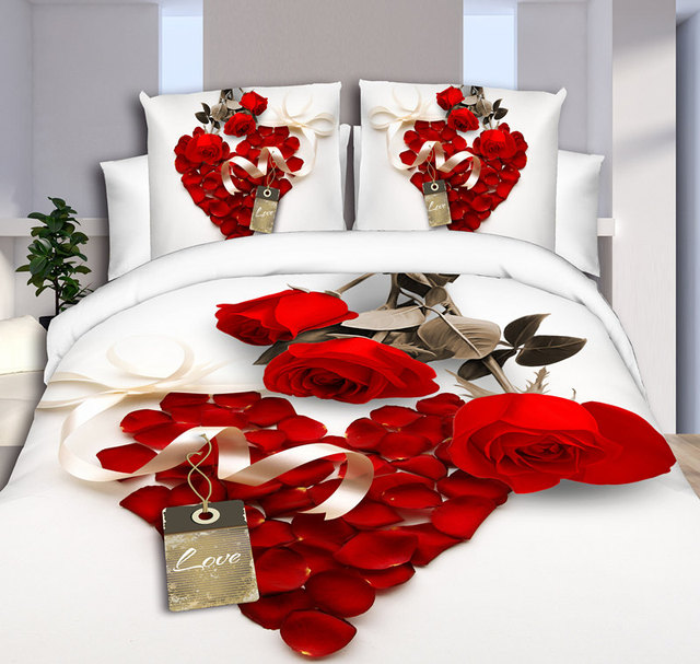 Bed Met Rozen.Huishoudtextiel Zoete Rode Rozen Stijl 3d Beddengoed Sets 4 Stks