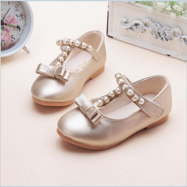 4deed34ee890 Kids Girls Gold Silver Pearl Bowtie Sandals