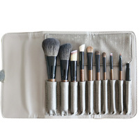 Pro 10pcs Makeup Brushes Set Make Up Brushes Animal Hair With PU Leather