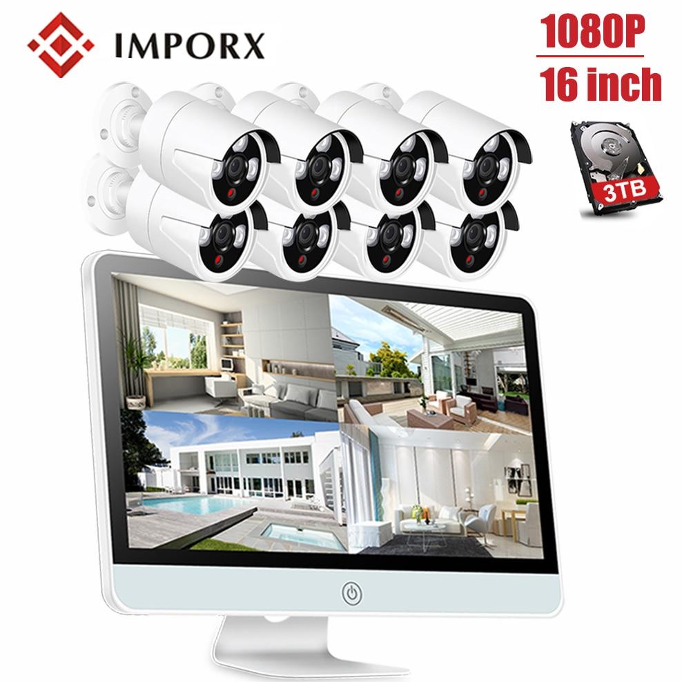8CH 1080P Wireless Surveillance NVR Kits 16 LCD Display CCTV Bullet Camera System WIFI Wireless Home Security IR Night Vision цена