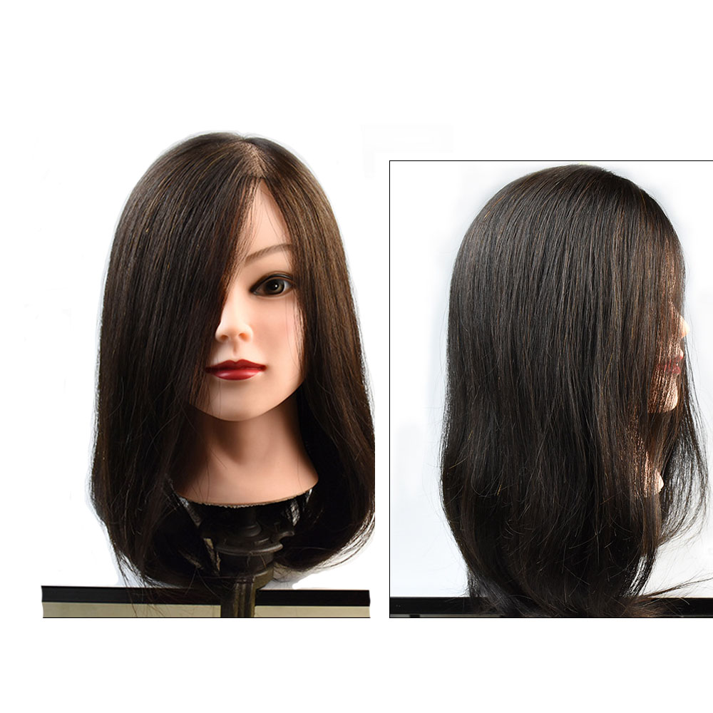 20 100% Real Human Hair Training Head Hairdressing Mannequin Head For Sale Natural Black Color Hair graceful short side bang fluffy natural wavy capless human hair wig for women