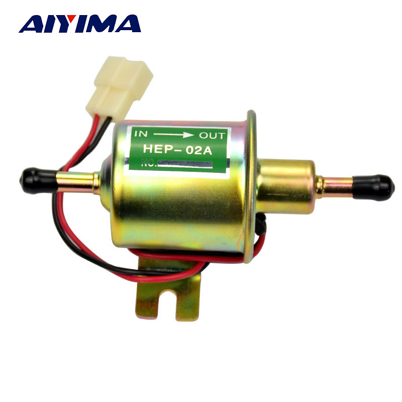 AIYIMA 1pcs Universal Electronic Pump HEP-02A 12V 1.5A Fuel Gasoline Oil Petrol Diesel Metal Pumps For Carburetor Motorcycle