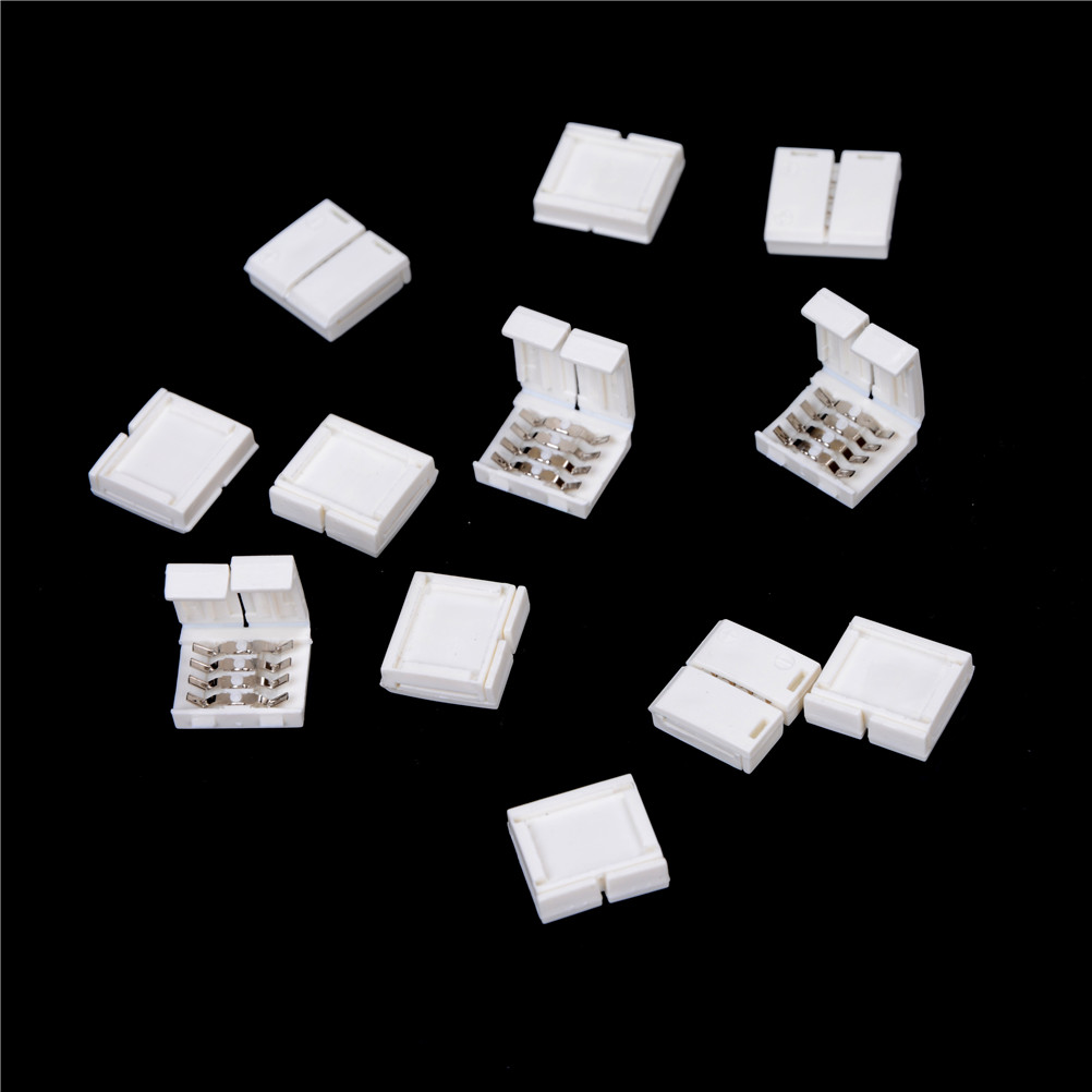 10Pcs/lot 10mm Solderless Width Quick Connect 4-PIN RGB Connector Adapter For 5050 RGB LED Strip Light Tape