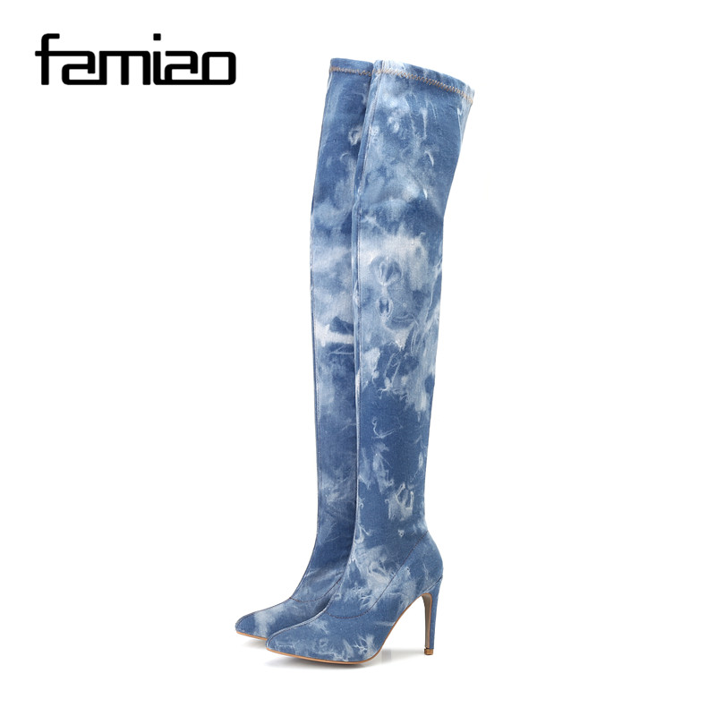 FAMIAO New 2017 Women boots Women Hole Denim High Heels Over The Knee Boots Spring Summer Sexy  Thigh High Boots zapatos mujer the new spring and summer 2016 hole