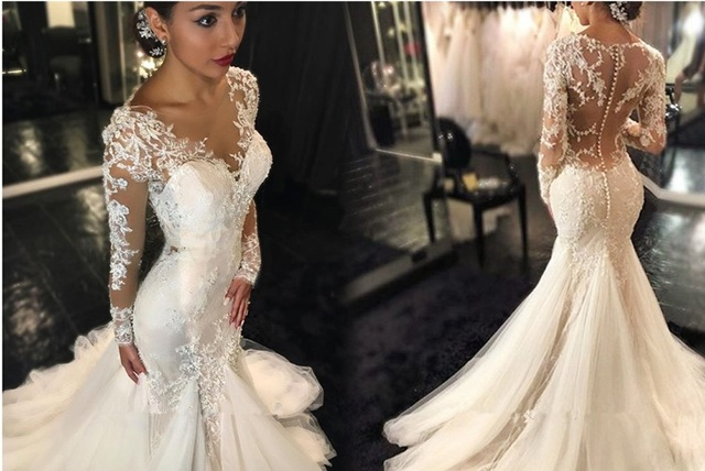Mermaid Wedding Gowns With Sleeves: Aliexpress.com : Buy Mermaid/Trumpet Wedding Dresses 2016