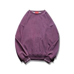 Image 5 - 2020 корейский стиль мужской пуловер с вышивкой в виде букв пальто свободные толстовки хлопковые повседневные однотонные толстовки M XL