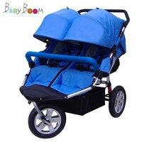 hot mom running pram BabyboomTwin baby stroller shock absorbers lie flat twin baby stroller twin baby stroller