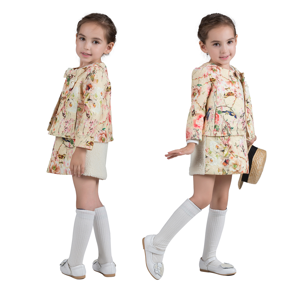 100% Cotton Autumn Winter White And Flower Dress Suit Thicken Long Sleeves Coat 2pcs Warm Baby Girls Clothing Set tnlnzhyn winter new women clothing warm cotton coat fashion large size thicken long sleeve casual female cotton outerwear qq260