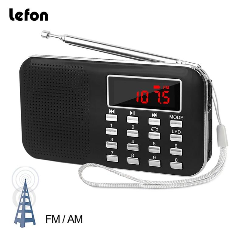 Lefon Portable Stereo Radio Receiver AM FM MP3 Music Player Support TF SD Card USB Drive AUX LED Display Flashlight Mini Radios