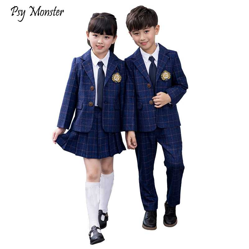 Children Class Suit Set Boys Girls College School Uniform Performance Costume  Kids Plaid Blazer Jackets Pants 2pcs Clothes Sets