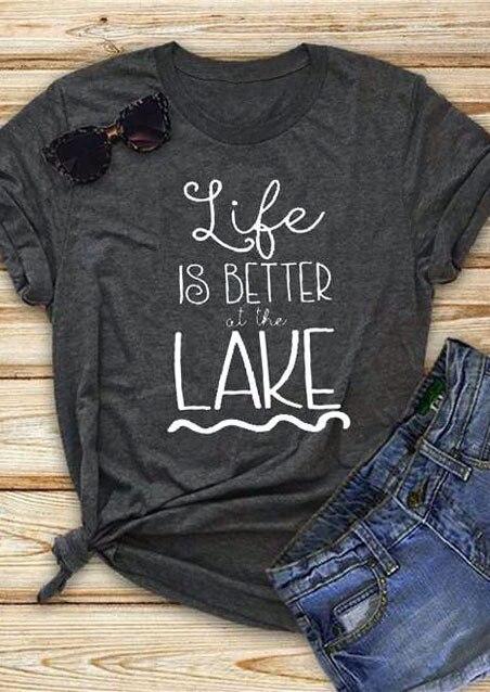 d1a0dc321 Nueva carta de verano vida es mejor en el lago Tumblr Hipster estética Tops  moda Camisetas ropa Vintage trajes