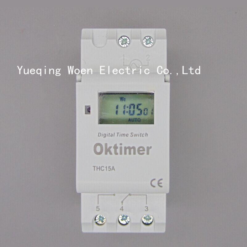 Oktimer THC15A THC-15A DIN RAIL DIGITAL PROGRAMMABLE timer time switch 220VAC 16A time switch timer time 220v Time relay ac 220v digital lcd power timer programmable time switch relay 16a good temporizador din rail ahc15