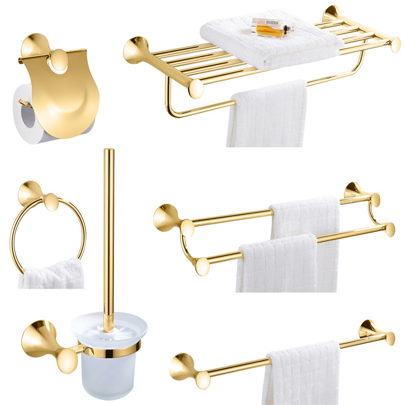 Leyden SUS 304 Stainless Steel Gold Finish Paper Holder Towel Bar Robe Hook Toilet Brush Holder Towel Ring Bathroom Accessories high quality bathroom accessories stainless steel black finish towel ring holder