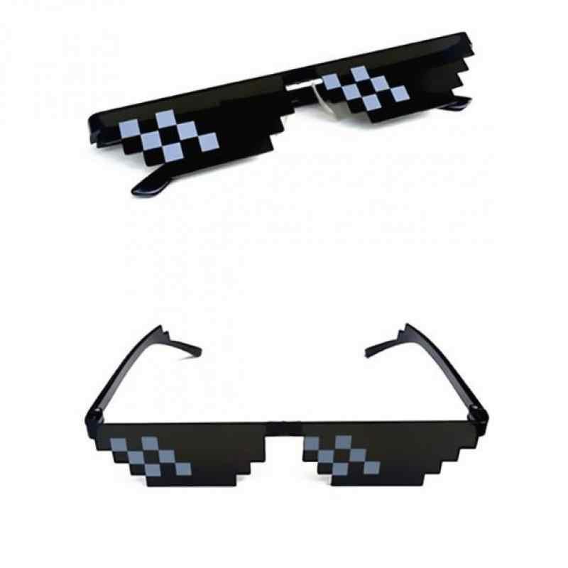 פסיפס משקפי שמש טריק צעצוע Thug Life משקפיים להתמודד עם זה משקפיים פיקסל נשים גברים שחור פסיפס משקפי שמש מצחיק toy7479