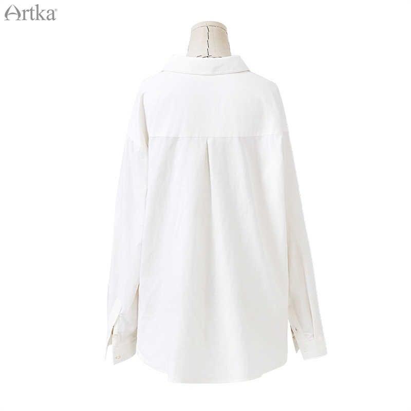 ARTKA 2019 Sonbahar Yeni Kadın Gömlek % 100% Pamuk Rahat turn-aşağı Yaka Gömlek Kalınlaşmak Kadife Gömlek Işlemeli Bluz SA10081D