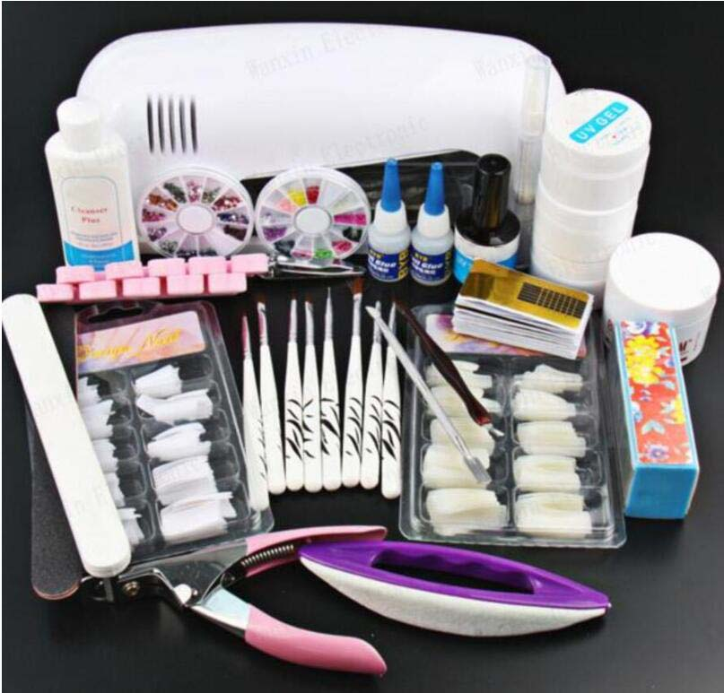 2018 Pro builder Gel for Nail Art extensions Tool Kits Sets 9w UV lamp Brush Remover nail tips glue acrylicPowder Set купить
