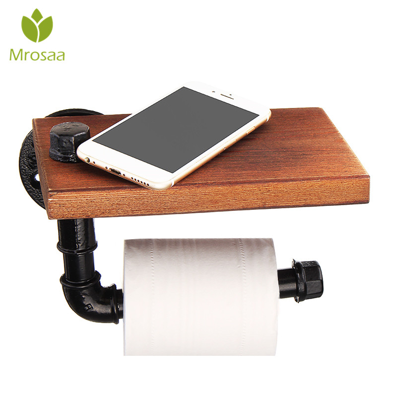 Mrosaa Bathroom Shelves Industrial Retro Iron Toilet Paper Holder Bathroom Hotel Roll Paper Tissue Hanging Rack Wooden Shelf