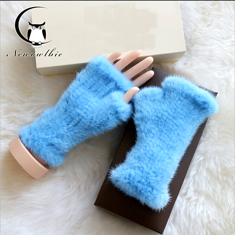 Mink Fur gloves 20 CM 2020  Glove Luxury Brand Mittens Solid Style For Russian Winter Real Fur Gloves