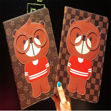 Brand tablet case for ipad 2 3 4 common 3D stereoscopic Bear new character leather cover smart sleep with package