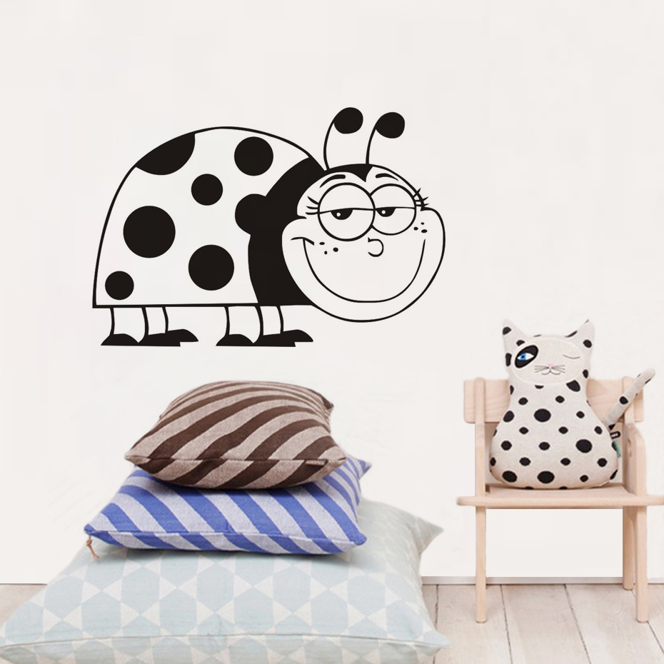 Hollow Out Vinyl Waterproof Large Size Smiling Ladybug Diy Home Decor Wall Stickers Kids Room Art Decals