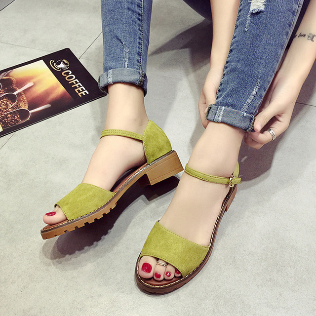 72430ae2f84 CPI Summer Floral Sandals Fish Mouth Women Sandals Pu Suede Retro High  Heels Square Heel Woman Buckle Shoes size 35-40 EE-126