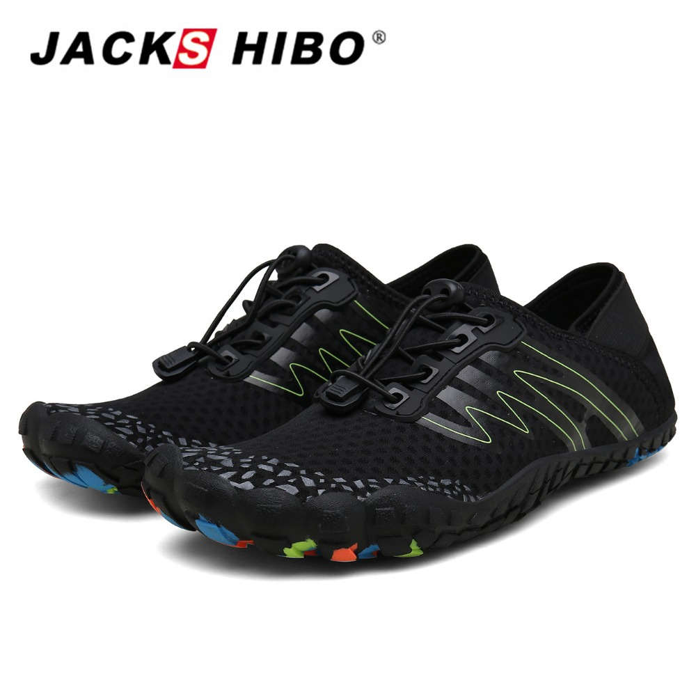 JACKSHIBO Summer Adult Swimming Shoes Men Sneakers Aqua Shoes Breathable Beach Barefoot Shoes Diving Fishing Sapatos Praia in Upstream Shoes from Sports Entertainment