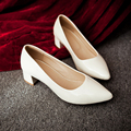 New 2017 women shoes red black medium heel pointed toe pumps women dress shoes with low heels chunk heel leather bridal shoes