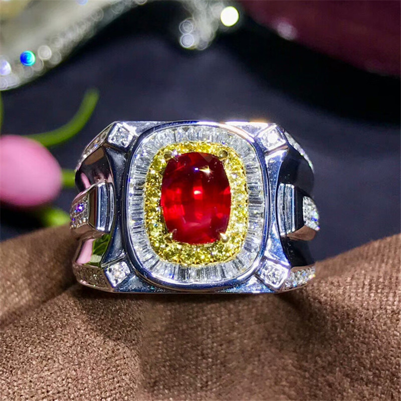 fine jewelry factory wholesale classic unburn red ruby natural gemstone ring man 18k gold jewelry ...