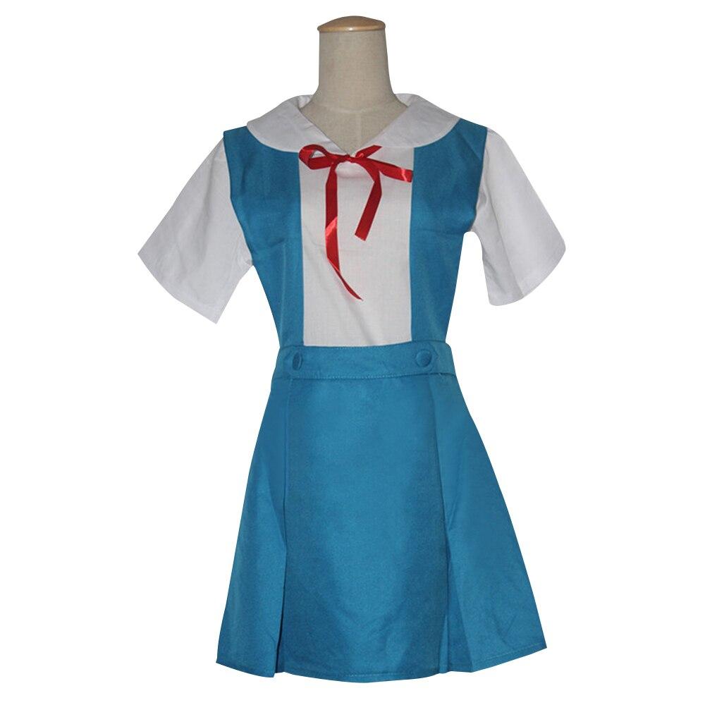 Хэллоуин леди Евангелион Косплэй Аска Лэнгли Сорю Токио Ayanami Rei Косплэй костюм Школьная Униформа 3 шт. комплект