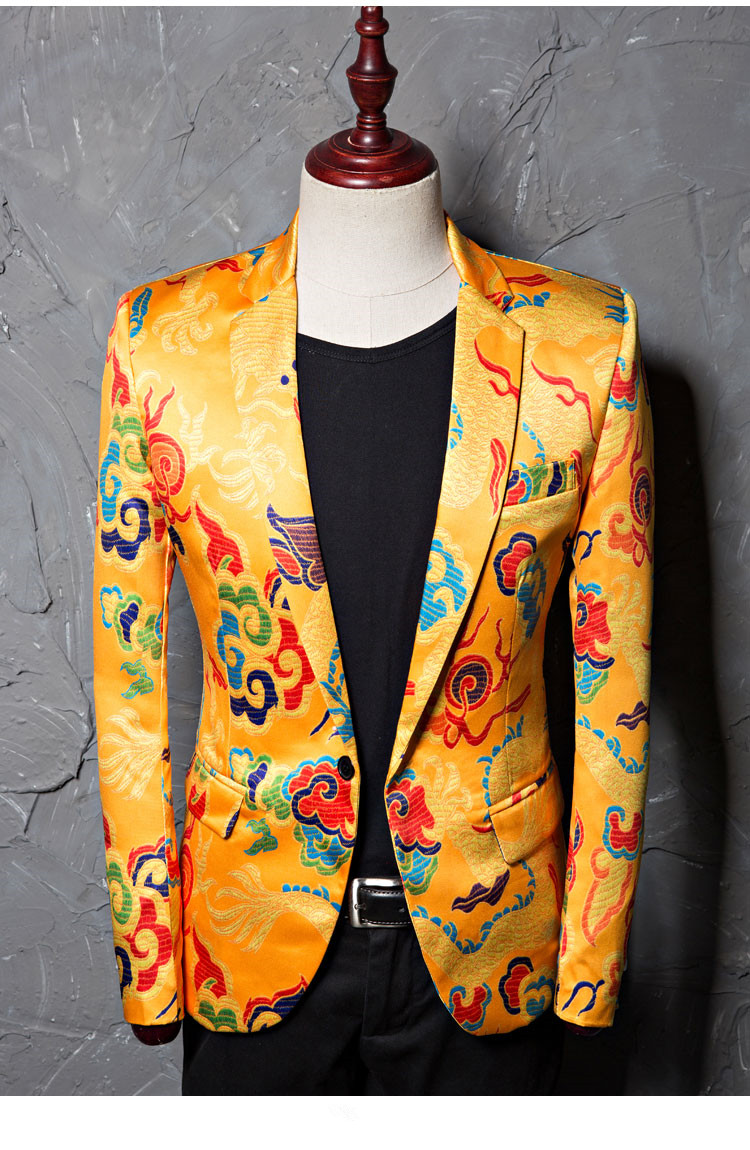 2020 Retro Men'S Blazers Gold Yellow Printing Casual Coat Male Wedding Groom Jacket Outerwear Singer Star Compere Show Stage Costume From Alfreld,