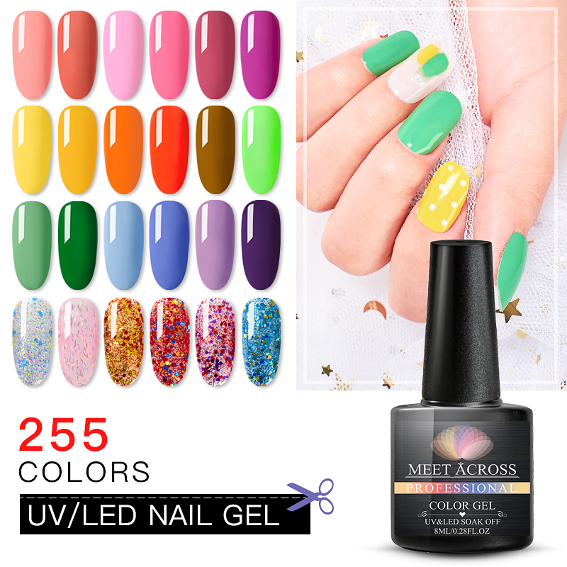 MEET ACROSS Glitter Pure Gel Varnish 255 Colors Hybrid Polish Manicure for Nails Design Shining Green UV Nail