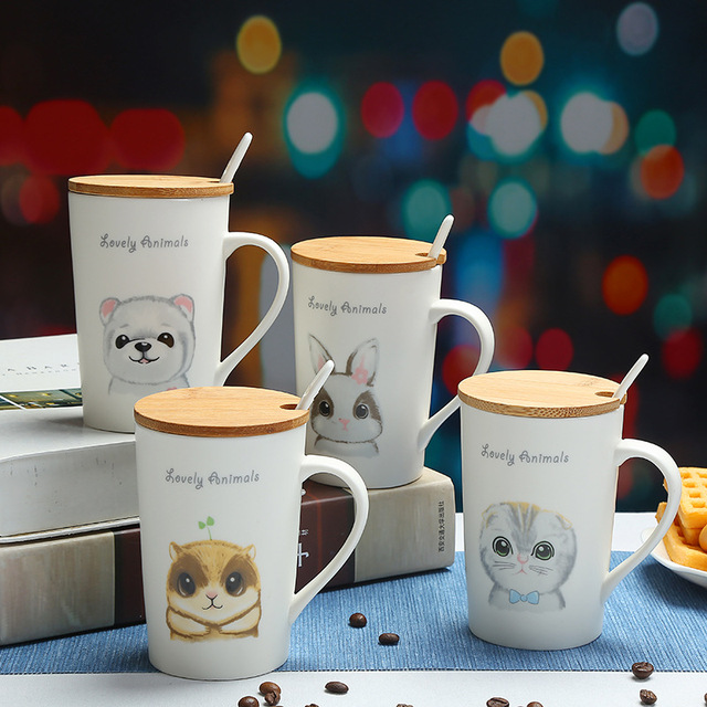 350ml Cute Squirrels, puppies pattern mug,Coffee Water Bamboo cover Cup Cute Breakfast Cup Mug for Children Girl,Drop shipping 1