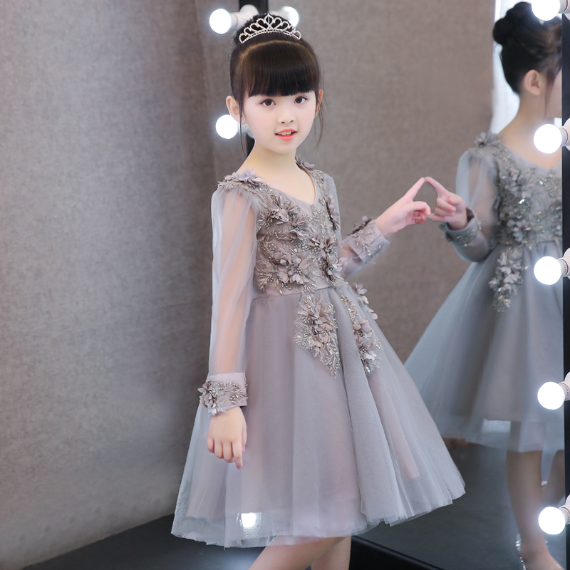 New Luxury Elegant Children Girls Embroidery 3D Flowers Princess Party Lace Dress Kids Ball Gown Mesh Dress Pageant Tutu Dress цены онлайн