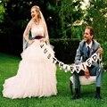 Just Married Boda Vintage Bunting Banner Photo Booth Atrezzo Garland decoraciones del banquete de boda Nupcial decoración de la boda Ducha