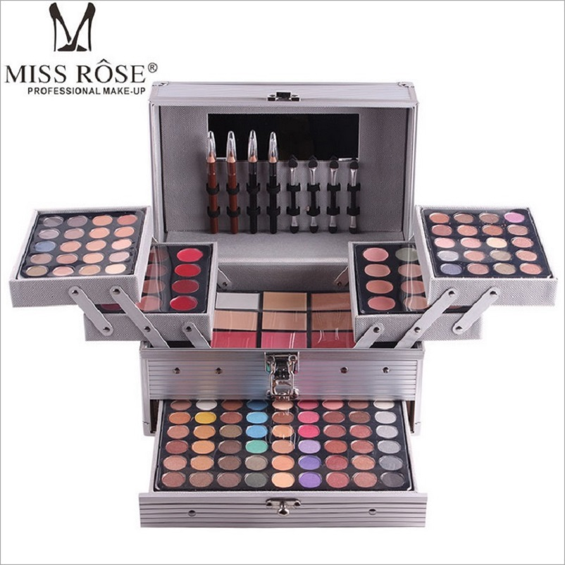 Miss Rose Makeup Set Professional Cosmetic in Aluminum Box Three layers with Glitter Eyeshadow Lip Gloss