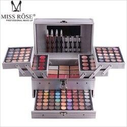 Miss Rose набор для макияжа Профессиональная косметика в алюминиевой коробке три слоя с блестками тени, блеск для губ Румяна для визажиста