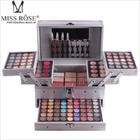 Miss Rose Makeup Set Professional Cosmetic in Aluminum Box Three layers with Glitter Eyeshadow Lip Gloss Blush for Makeup Artist