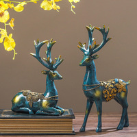 Lovely Couple Elk Ornaments 2pcs Resin Deer Figurine Miniatures Crafts Decoration for Home Office FP8