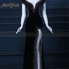 Black Floor-Length Full manual black Sexy Star full dress Evening dress Cocktail dress Night entertainment venue dress LF0107