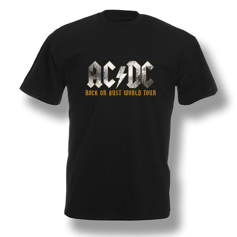 AC DC Rock or Bust World Tour 2015 T Shirt Band Concert Mens Black Shirt  100% Cotton Music T Shirt Euro Size S 3XL-in T-Shirts from Men s Clothing  on ... cb9dc6ce1aa