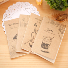 1pcs/lot Lovely Piano Violin Drink Korean Vintage Handmade Diary Notebook Stationery student supplies