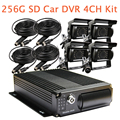 4CH  SD 256G Car Vehicle DVR Video Recorder 4 Pieces Waterproof CCTV SONY CCD Rear View Camera For Truck Van Bus Free Shipping
